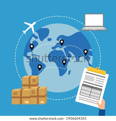 Online business trading with express international shipping concept vector illustration. Computer, airplane, package and document in flat design. Foto stock ©