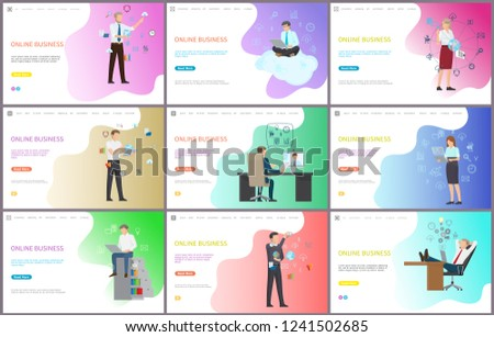 Online business worker with laptops working in office vector. Modern technologies for job, businessman finding solution, social network around world