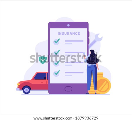 Online Car Insurance Vector illustration. Woman Buying Car Insurance and Signing Form with Phone. Concept of Car Insurance Mobile Services, Protection Property, Road Accident for Web Design