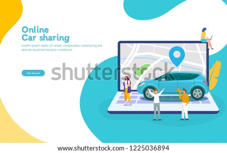 Online car sharing vector illustration concept, mobile city transportation with cartoon character and use smartphone,  can use for, landing page, template, ui, web, mobile app, poster, banner, flyer stock photo