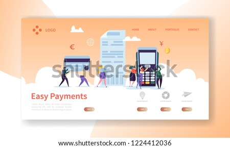 Online Card Payment Concept Landing Page. Easy Payments Banner with Flat People Characters Website Template. Easy Edit and Customize. Vector illustration