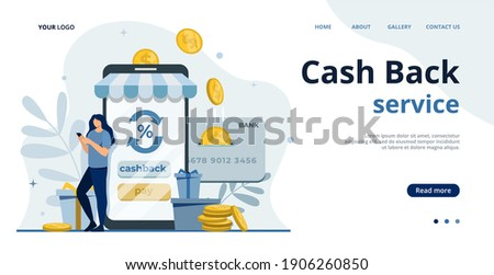 Online cashback concept.Saving money.Phone screen with cash back and bonus card.Money transfer.Online banking flat illustration.Saving money.Earn points.Money refund.Shopping online.Pay by card