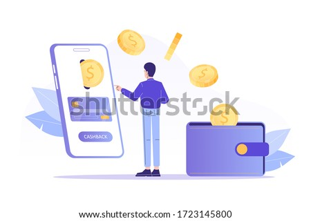 Online cashback concept. Young man receiving cashback for a buyer. Coins or money transfer from smartphone to e-wallet. Online banking. Saving money. Money refund. Isolated vector illustration