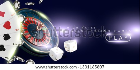 Online casino banner or flyer background. Casino roulette wheel isolated on blue background. 3d realistic vector illustration. Online poker casino roulette gambling concept design