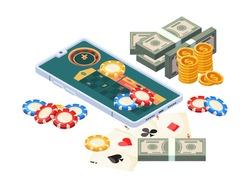 Online casino. Isometric concept mobile digital gambling money for winners smartphones garish vector illustrations