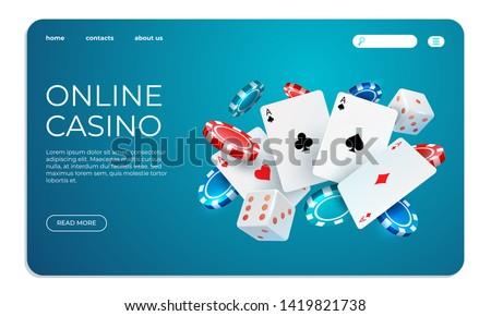 Online casino. Web landing page template for internet poker game. Vector gambling illustration flying poker cards, chips game elements