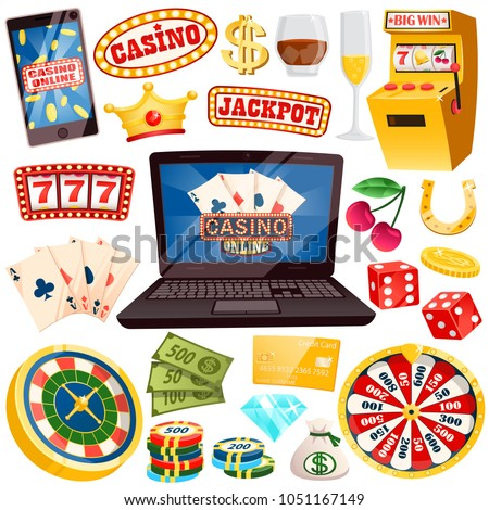 Online casino with all kinds of gamblings set. Play card games and fruit machines right inside your laptop isolated cartoon vector illustrations. Set of casino objects