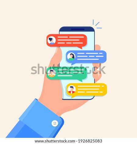 Online chat messages text notification on mobile phone. Hand holds smartphone sms speech bubbles push alerts on screen, digital or electronic chatting on cellphone. Vector illustration in flat style