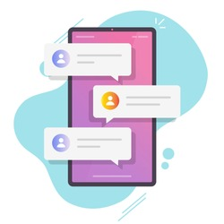Online chat messages text notification on mobile phone vector or flat cartoon smartphone sms speech bubbles push alerts on screen, digital or electronic chatting on cellphone isolated