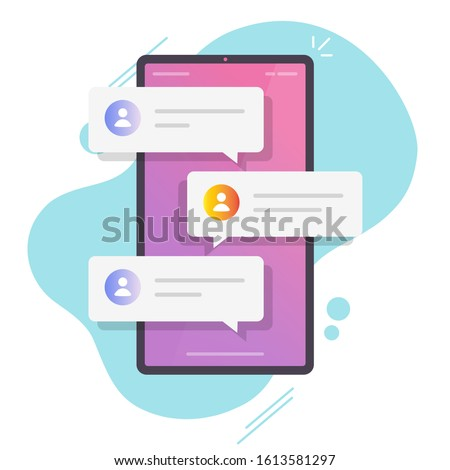 Online chat messages text notification on mobile phone vector or flat cartoon smartphone sms speech bubbles push alerts on screen, digital or electronic chatting on cellphone isolated Stock photo ©