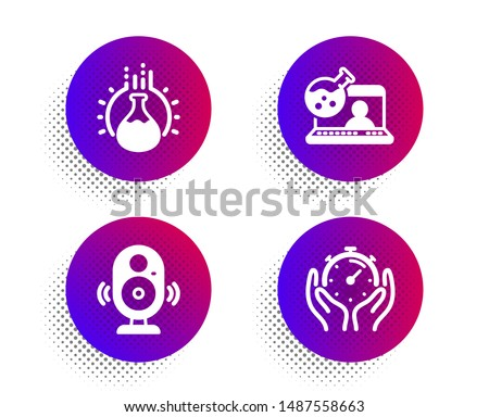 Online chemistry, Speaker and Chemistry experiment icons simple set. Halftone dots button. Timer sign. Lab flask, Music sound, Laboratory flask. Deadline management. Science set. Vector