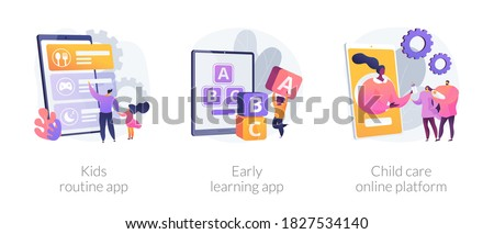 Online childcare service abstract concept vector illustration set. Kids routine app, early learning app, child care search platform, activity tracking, studying software, babysitter abstract metaphor.