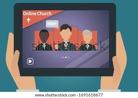 Online church. Worship Online. Church website Pastors praying, finde a pastor, video streaming of church service. Church in Internet.  Dark skinned pastor.