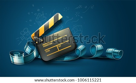 Online cinema art movie poster design with clapper and film-strip reel tape. Cinematography concept vector illustration.