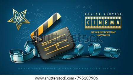 Online cinema art movie poster design with clapper and film-strip reel tape. Cinematography concept vector illustration.