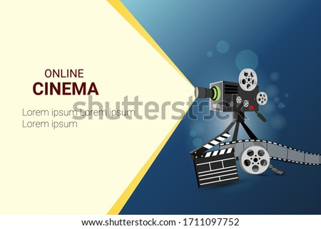 Online cinema art movie poster design with  movie projector and Disc with movie reel film-strip. cinematography concept.  vector illustration