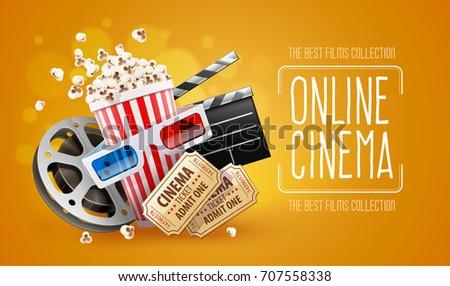 Online cinema art movie watching with popcorn, 3d glasses and film-strip cinematography concept. Eps10 realistic Vector illustration. Cinema ticket vector.