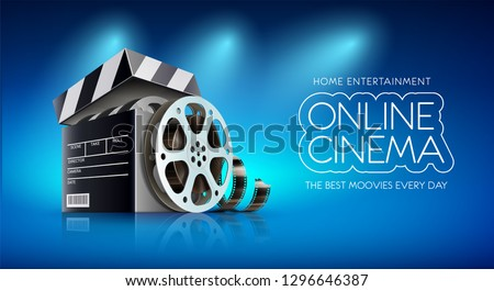 Online cinema. Banner for web films, movies and entertainment portal. Cinematography and filmmaking concept with box as producer clapper. Disc with movie reel film-strip. Eps10 vector illustration.