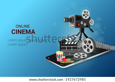 Online cinema movie art poster design. Movie projector and film-strip movie reel. cinematography concept. Online Movie Time. Ticket Ordering. vector illustration