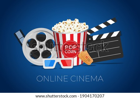 Online cinema movie watching with popcorn, 3d glasses and film-strip cinematography concept. Eps10  vector illustration on blue background