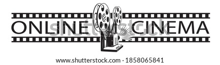 online cinema poster with retro film projector isolated on white background