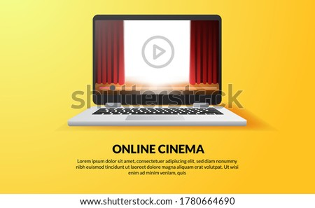 online cinema, video and film streaming with device at home concept. red curtain stage show on the screen of laptop device technology.