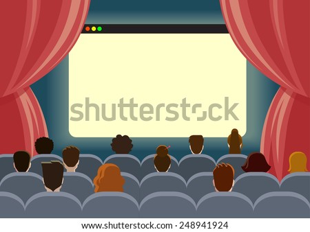 Online cinema watch movie theater empty screen template mockup concept flat web infographic vector. Group people sitting before blank browser window interface. Creative people collection.