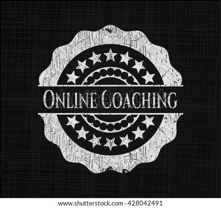 Online Coaching chalkboard emblem
