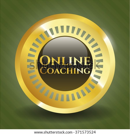 Online Coaching gold emblem or badge