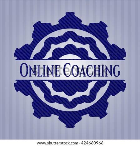 Online Coaching jean or denim emblem or badge background