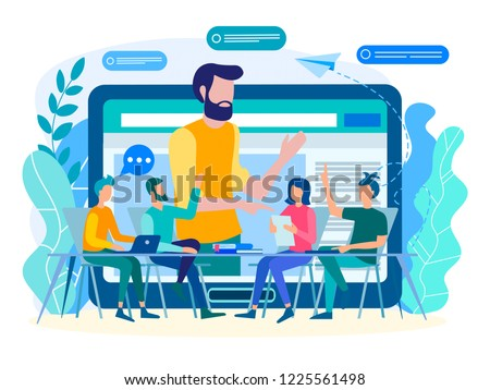 Online coaching, online training, web communication concept. Training, webinar, teacher conducts online training with a group of students, office workers.