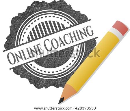 Online Coaching pencil emblem