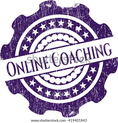 Online Coaching rubber seal with grunge texture