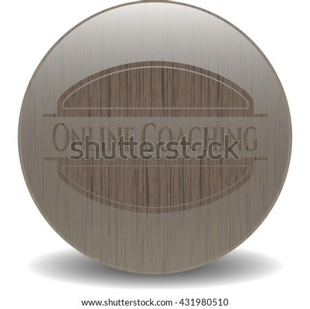 Online Coaching wooden emblem. Retro