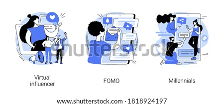 Online communication abstract concept vector illustration set. Virtual influencer, FOMO, millennials generation, digital native and social media, brand avatar, fear of missing out abstract metaphor.