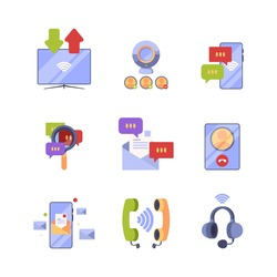 Online communication. Ads icon set concept pictures of internet dialogue web conversation and banking symbols for app developed garish vector design templates collection