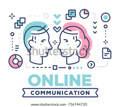 Online communication concept on white background with title and icons. Vector illustration of communicating people male and female heads. Thin line art design for web, banner, business presentation