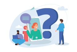 Online communication, getting help information, asking and answering questions concept. Flat cartoon vector illustration with diverse multiethnic characters