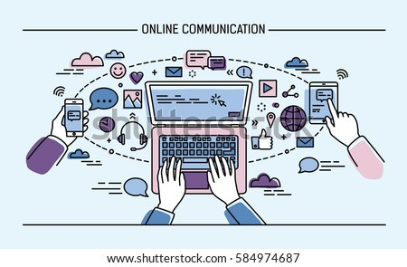 online communication lineart banner. gadgets, information technology, communications, messaging, chat, media. Colorful flat style vector illustration.