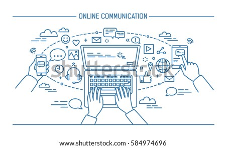 online communication lineart banner. gadgets, information technology, communications, messaging, chat, media. Contour flat style vector illustration.