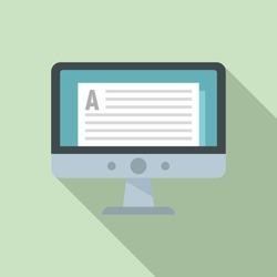 Online computer lesson icon. Flat illustration of online computer lesson vector icon for web design