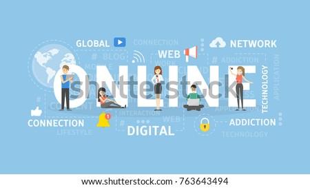 Online concept illustration. Idea of social media, network and web.
