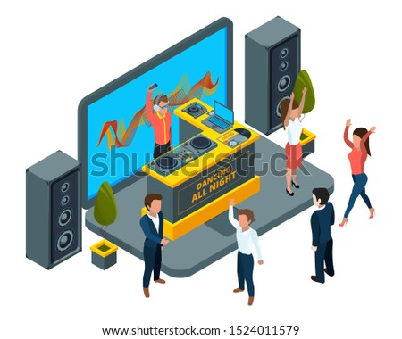 Online concert concept. Isometric laptop with musical instruments and DJ setup vector illustration