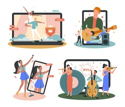 Online concert set. Musician or artist making online show. Artist on device monitor screen. Online livestream performance, internet broadcasting. Isolated flat vector illustration