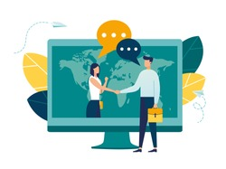 online conclusion of the transaction. the opening of a new startup. business handshake, via phone and laptop. vector illustration in a flat style investor holds money in ideas online vector