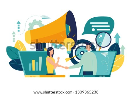 online conclusion of the transaction. the opening of a new startup. business handshake, via phone and laptop. vector illustration in a flat style investor holds money in ideas online. - Vector