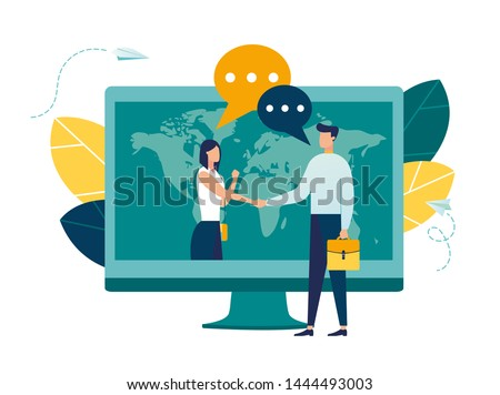 online conclusion of the transaction. the opening of a new startup. business handshake, via phone and laptop. vector illustration in a flat style investor holds money in ideas online.