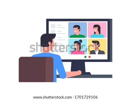 Online Conference. Group video chat. Remote team work. Flat Style. isolated on white background