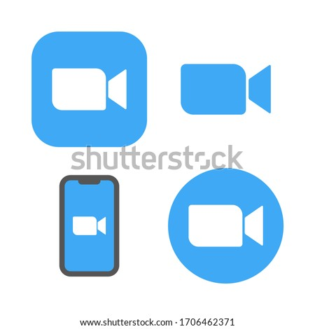 Online conference zoom icons. Live media streaming application for the phone, conference video calls. EPS 10.