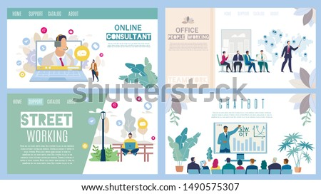 Online Consultant, Office and Street Working, Business Chatbot Flat Vector Web Banners, Landing Pages Set. Clients Helpline, Partners Meeting, Working Freelancer, Business Presentation Illustration